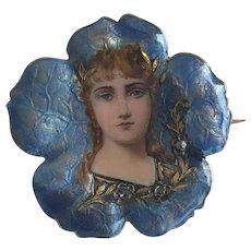 Art Nouveau Swiss Enamel Pin