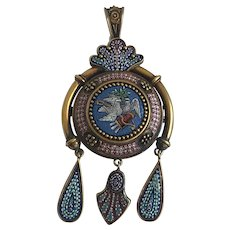 Italian Victorian Micro-Mosaic Pendant Brooch