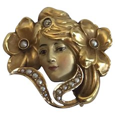 Art Nouveau 14K Yellow Gold Enamel Face Pin and Chatelaine