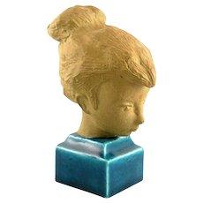 RARE Vintage 1960s Royal Copenhagen Johannes Hedegaard Ceramic Young Woman Figurine Bust