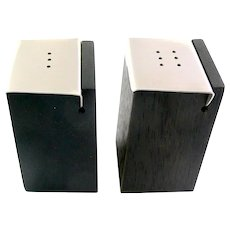 RARE Original 1950s Milton Cavagnaro California Handmade Exotic Wood and Brushed Steel Modernist SALT & PEPPER