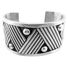 BIG 1940s 50s Rancho Alegre Taxco Art Deco Handmade Sterling Silver Geometric Design Cuff BRACELET