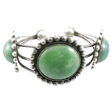 HUGE Vintage 1930s 40s Art Deco Mexican Native Tribal Handmade Sterling Silver & Green Onyx Geometric Cuff BRACELET