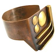BIG Vintage 1970s SIGNED Handmade Geometric Modernist Bronze & Copper BRACELET