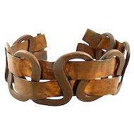 BIG Vintage 1960s 70s Handmade Copper Modernist Brutalist Cuff BRACELET