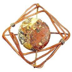BIG Vintage 1960s 70s Handmade Copper Brass & Spotted Jasper Modernist Brutalist Brooch PIN
