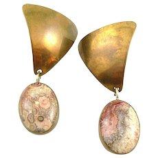 BIG Vintage 1970s SIGNED Handmade Bronze & Spotted Jasper Modernist Design Pierced EARRINGS