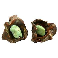 BIG Vintage 1980s 90s Handmade Artisan Copper & Green Stone Modernist EARRINGS