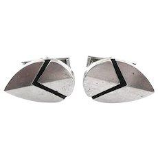 BIG Vintage 1950s 60s ESTHER LEWITTES Los Angeles California Handmade Sterling Silver Geometric Modernist CUFFLINKS