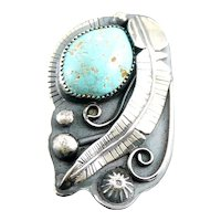 HUGE Vintage 1970s 80s SIGNED Handmade Native Zuni Sterling Silver & Turquoise Feather RING Size 8