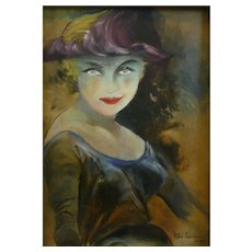 ORIGINAL 1958 Signed  Schuknecht Oil on Board Woman with Striking Eyes Framed PAINTING