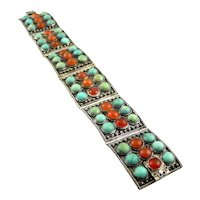 SIGNED Antique c. 1880 Qing Dynasty China Export Silver Turquoise Carnelian BRACELET