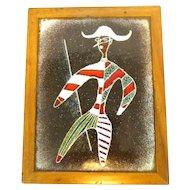RARE 1950s Ellamarie & Jackson WOOLLEY San Diego California Handmade Copper Enamel in Wood Modernist Harlequin Jester BOX