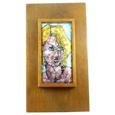 BIG Vintage 1960s 70s Signed Handmade Silver on Copper Enamel modernist Portrait of a Woman on Wood Base Painting ARTWORK