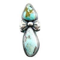 HUGE Vintage 1970s SIGNED Handmade Native Zuni Sterling Silver & Turquoise RING Size 9.5