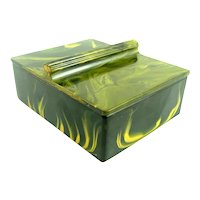 STRIKING Vintage 1930s Art Deco Geometric Highly Figured Marbled BAKELITE Handmade Lidded BOX