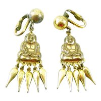 BIG Vintage 1940s Napier Gilt Sterling Silver Chinoiserie Seated Buddha with Dangles Clip EARRINGS