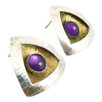 STRIKING Vintage 1980s 90s Handmade Sterling Silver Gold Overlay & Amethyst Triangular Modernist Pierced EARRINGS