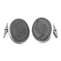 BIG Vintage 1940s 50s MICHAUD Handmade Sterling Silver & Carved Intaglio Graeco Roman Figure CUFFLINKS