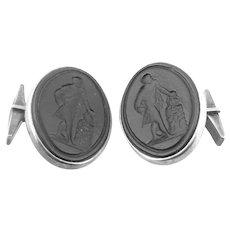 BIG Vintage 1940s 50s MICHAUD Handmade Sterling Silver & Carved Intaglio Graeco Roman Figure CUFFLINKS