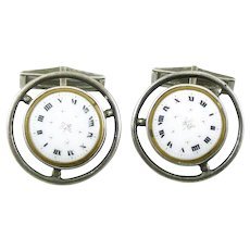 BIG Vintage 1940s 50s MICHAUD Handmade Sterling Silver & Antique Enamel Watch Face Design CUFFLINKS