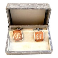 RARE Vintage 1940s 50s Japan Japanese Mixed Metals Copper & Sterling Auspicious Character Design CUFFLINKS in Original Box