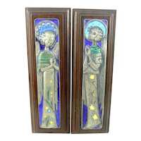 PAIR of Vintage 1950s 60s OTTAVIANI Italy Handmade Sterling Silver Enamel and Wood Female Angel Wall Plaques ARTWORKS