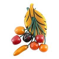 HUGE Vintage 1930s Handmade Carved Bakelite Seven Fruit Dangling From Carved Overdyed Bakelite Leaf Brooch PIN