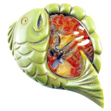 RARE Huge Possibly One of a Kind Vintage 1930s Chinoiserie Bakelite Fish Swallowed Chinese Pagoda Clip BROOCH PIN