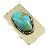 BIG Vintage 1960s 70s Native Tribal Old Pawn Navajo D/L Garcia Handmade Sterling Silver & Turquoise MONEY CLIP