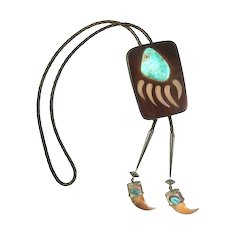 HUGE Vintage 1960s 70s Signed Native Tribal One of a Kind Handmade Wood Sterling & Turquoise Bear Claw Design BOLO TIE