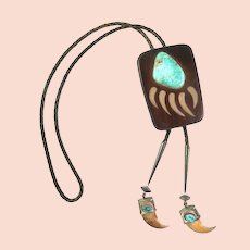 HUGE Vintage 1960s 70s Signed Handmade Wood Sterling & Turquoise Bear Claw Design BOLO TIE