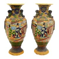 RARE Pair of Large Antique 19th Century Japan Meiji Handmade Moriage Ceramic VASES