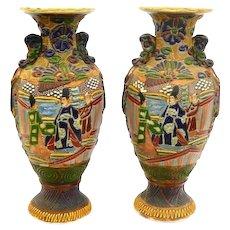 RARE Pair of Large Antique 19th Century Japan Meiji Handmade Moriage Ceramic VASES