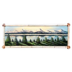 BIG Vintage 1930s PANORAMIC Mountain Lake Forest Landscape Framed Original Oil on Wood PAINTING