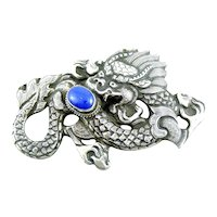 BIG Antique Chinese Qing Dynasty Export Repousse Sterling Silver & Lapis Lazuli DRAGON Design Brooch PIN