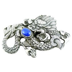 BIG Antique Chinese Qing Dynasty Export Sterling Silver Repoussage DRAGON & PEARL of Wisdom with Lapis Lazuli Brooch PIN