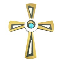 BIG 1950s Tono Taxco Handmade Mixed Metals Sterling Silver Brass Onyx & Turquoise Mexican Modernist CROSS Brooch Pin PENDANT