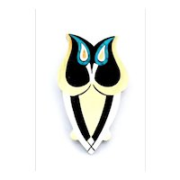 BIG Vintage 1950s TONO Taxco Mixed Metals Sterling Silver Brass Onyx & Turquoise Mexican Modernist OWL Design Brooch Pin PENDANT