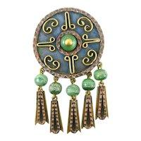 HUGE Vintage 1960s 70s MAYA Mexico Handmade Mixed Metals & Green Onyx Ornate Design Brooch Pin PENDANT
