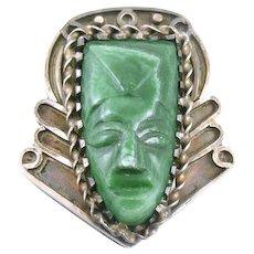 RARE 1930s 40s Art Deco Mexico Handmade Sterling Silver & Carved Malachite pre Columbian FACE Design DRESS CLIP