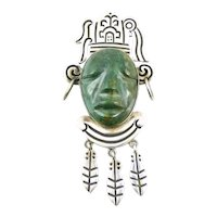 HUGE 1940s 50s SIGNED Taxco Mexico Handmade Sterling & Carved Malachite AZTEC CHIEF Brooch Pin PENDANT