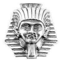 RARE 1920s 30s Signed JEWELART Sterling Silver Egyptian Revival King Tut Pharaoh Brooch PIN