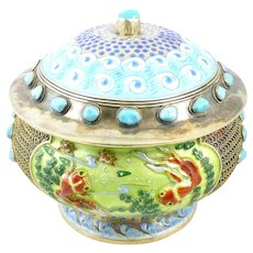 RARE Superb Antique Qing Chinese Export Silver Enamel & Turquoise Koi Fish in Pond Design Lidded BOX