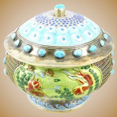RARE Superb Antique Qing Chinese Export Silver Enamel & Turquoise Koi Fish in Pond Design Lidded BOWL