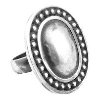 BIG 1980s 90s Brenda Schoenfeld Mexico Handmade Sterling Silver Geometric Design RING - Size 13