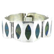 BIG 1950s Signed NESTOR Taxco Mexico Handmade Sterling Silver & Azurmalachite Inlay Modernist Link BRACELET