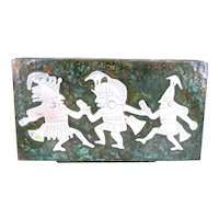 RARE 1950s Graziella LAFFI Peru Handmade Mixed Metals Copper & Sterling Silver pre Columbian Figures Dancing Lidded BOX