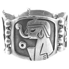 BIG Vintage 1980s Jose Luis Flores Taxco Handmade Sterling Silver pre Columbian SMOKING SHAMAN Design Link BRACELET