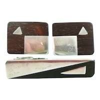 BIG 1940s 50s Signed Mexico Handmade Sterling Silver & Wood Inlay Geometric Modernist Cufflinks & Tie Bar SET